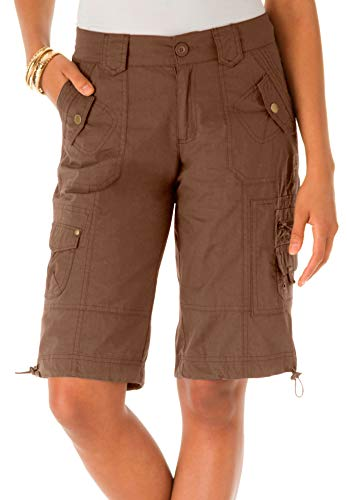 Roamans Women's Plus Size Cargo Shorts With Adjustable Bungee Hem by Roamans