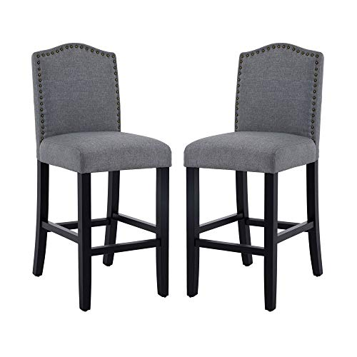 DAGONHIL 24 Inches Counter Height Bar Chairs with Bronze Nail, Gray, Set of 2 ()