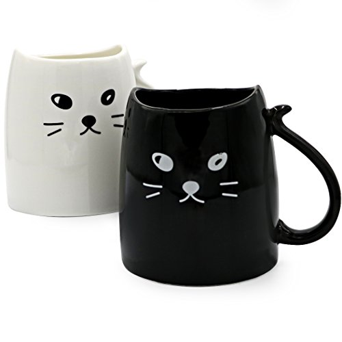 Teagas Novelty Cat Mugs 12 oz for Fathers Day Gifts - Black