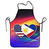 Novelty Philippines USA Flag Twin Heart Unisex Kitchen Chef Apron - Chef Apron For Cooking,Baking,Crafting,Gardening And BBQ