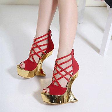 LvYuan Mujer-Tacón Cuña-Creepers Confort Innovador-Sandalias-Boda Vestido Fiesta y Noche-Semicuero-Negro Rojo Red