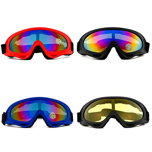 Litake Adjustable Ski Goggles, 4 Pack Snowboard Motorcycle Goggles Tactical Glasses UV 400 Protective Military Sunglasses for Kids, Boys, Girls, Men, Women