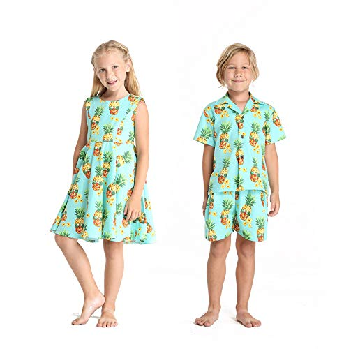 (Matching Boy and Girl Siblings Hawaiian Luau Outfits in Halloween Pineapple Skull Girl 10 Boy)