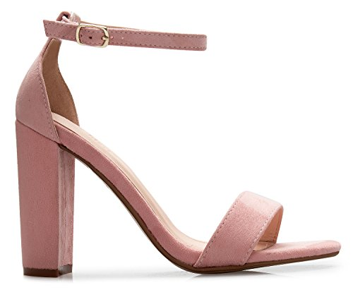 Party Block Formal Classic Pump Heel Mauve Strappy OLIVIA Women's Simple High K Chunky Suede Wedding wg7In0znq