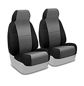 Coverking Custom Fit Front 50/50 High Back Bucket Seat Cover for Select Chevrolet Express 1500/2500/3500 Models - Spacermesh 2-Tone (Gray with Black Sides)