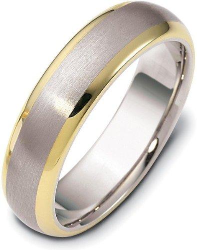 - Stylish 6mm 18 Karat Titanium & Yellow Gold Wedding Band Ring - 11.5