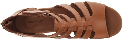 Briah Sandal Leather Dark Rockport Gladiator Wedge Tan Women's ZwqxT615