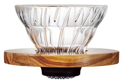 Hario V60 Glass Coffee Dripper, Size 01, Olive Wood