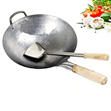 Ancoree Wok Stir-Fry Pan,Chinese Pan Iron Wok Traditional Hand Hammered Uncoated Carbon Steel Wok Cookware with Helper Wooden, 12inch Round Bottom Wok with Wok Turner