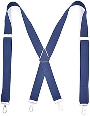 Heavy Duty Clip Suspenders Y Back Straps With Clips Work Pants Adjustable Mens