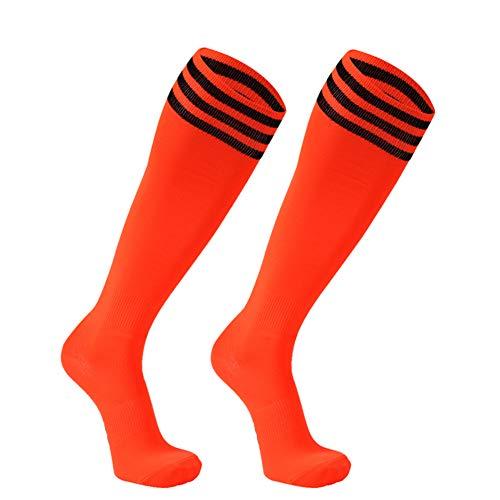 Hockey Socks, FOOTPLUS Mens Womens Long Tube Antibacterial Softball Compression Sport Socks, Boys Girls School Uniform Dress Socks, 2 Pairs Orange+Black Stripe, Large