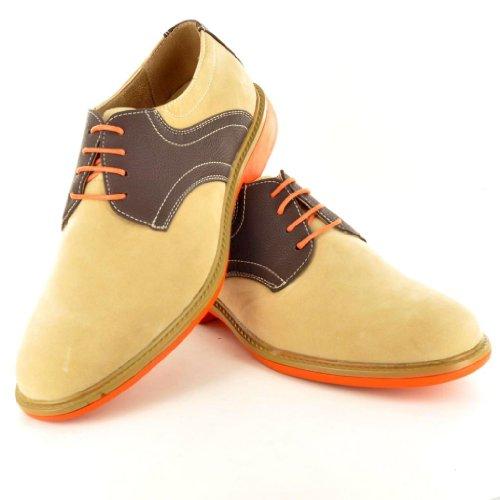 ... MenKontrast, Designer-inspiriert, Casual Schnürschuh im Brogue-Schuhe  Beige ...