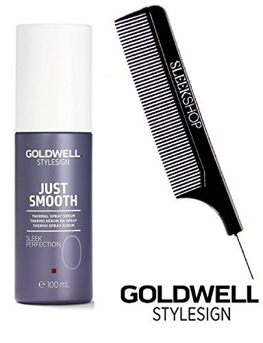Goldwell Stylesign Just Smooth Sleek Perfection 0 Thermal Spray Serum- 3.3 oz (with Sleek Steel Pin Tail Comb)