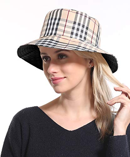Bucket Sun Hat Women Cap - Cotton Plaid Black Sun Protection Funny Summer Tourist Fishing Beach Bonnie Vintage Men Hats (Vintage Burberry Scarf)