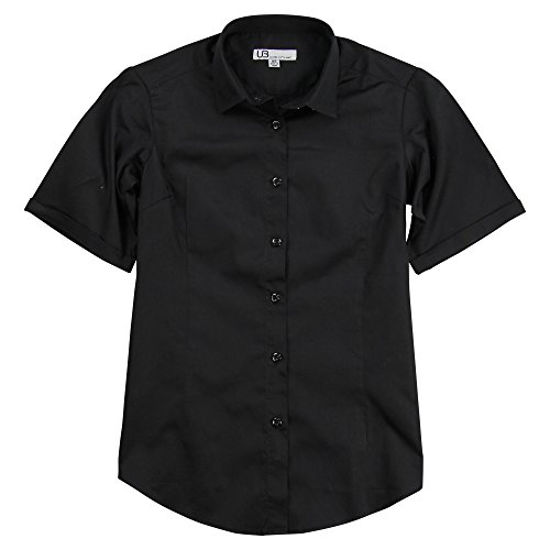 Urban Boundaries Women's 100% Cotton Classic Short Sleeve Shirt (Black, X-Large) Black Cotton Short Sleeve Shirts
