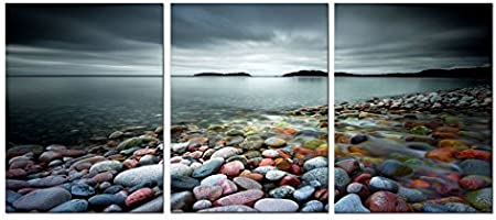 Amazon Com Canvas Wall Art Lake Beach Colorful Stones 16 X 24 X 3 Panels Canvas Art Lakeside Sunset Modern Artwork Landscape Pictures Framed Ready To Hang For Home Decoration Kitchen Dining