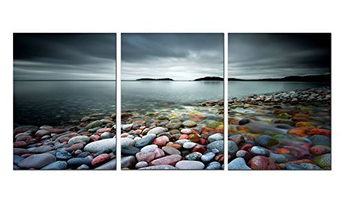 "Bathroom Wall Art Beach Colorful Stones under Sunset Canvas Art 12"" x 16"" x 3 Panels Landscape Canvas Prints Artwork Framed for Living Room Home Decoration"