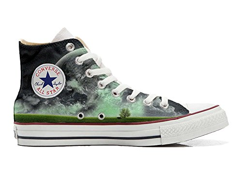 Converse Customized Chaussures Personnalisé et imprimés UNISEX (produit artisanal) avec monde - size EU35