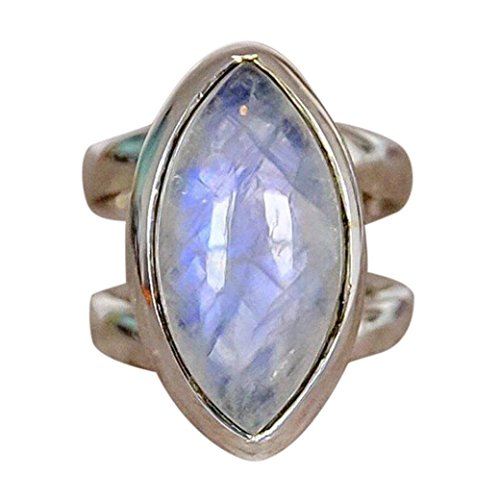 WensLTD_ 1PC Boho Jewelry Silver Natural Gemstone Marquise Moonstone Personalized Ring (5, Silver-7)