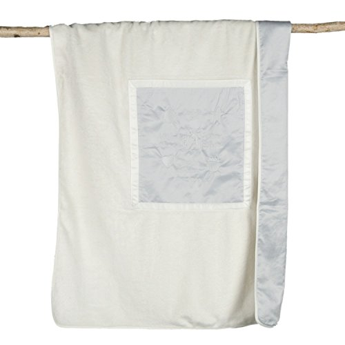 Barefoot Dreams Signature Plush Receiving Blanket (Blue/CREAM) by Barefoot Dreams
