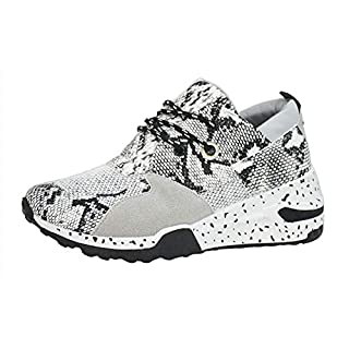 LUCKY STEP Women's Climbing Hiking Retro Jogger Cliff Sneakers Running Sport Trainer Shoes (8.5 B(M) US, White Snake)