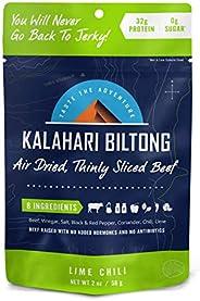 Lime Chili Kalahari Biltong, Air-Dried Thinly Sliced Beef, 2oz (Pack of 1), Sugar Free, Gluten Free, Keto & Paleo, High Prot