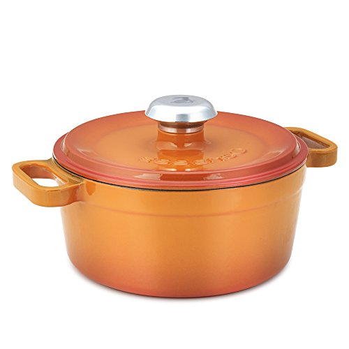 Enameled Italian Kitchen Dutch Oven - Essenso Chambery 3 Layer Enameled Orange Cast Iron Dutch Oven 4 qt