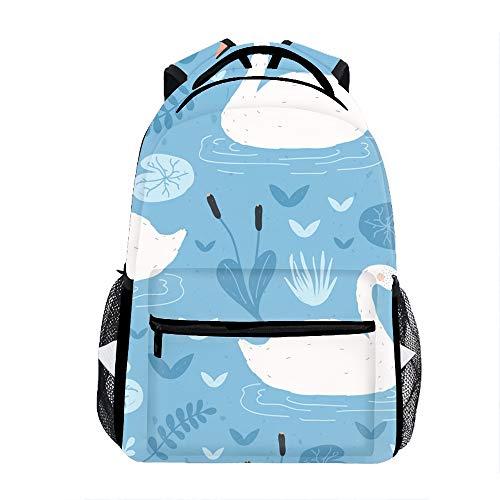 3D Printing White Swans Floating School Bookbag Travel Backpack 11.5x8x16