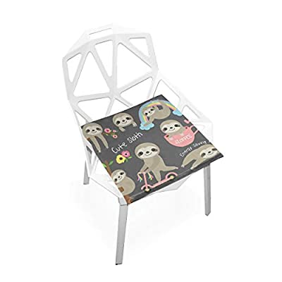 Bardic HNTGHX Outdoor/Indoor Chair Cushion Cute Animal Sloth Square Memory Foam Seat Pads Cushion for Patio Dining, 16