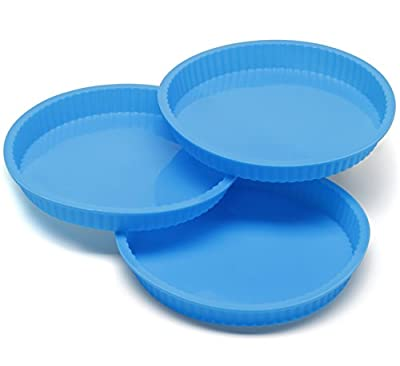 Pack of 3 Big Tart Quiche Pans Non-Stick Large Cake Flan Molds Dish - Thick Silicone