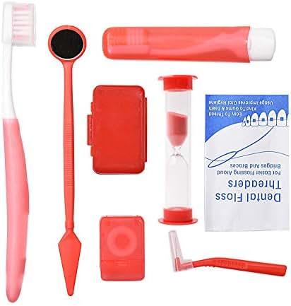 Angzhili Portable Orthodontic Toothbrush Kit for Orthodontic Patient Orthodontic Care Kit for Braces Interdental Brush Dental Wax Dental Floss Toothbrush Box Oral Care Kit Dental Travel Kit(Red)