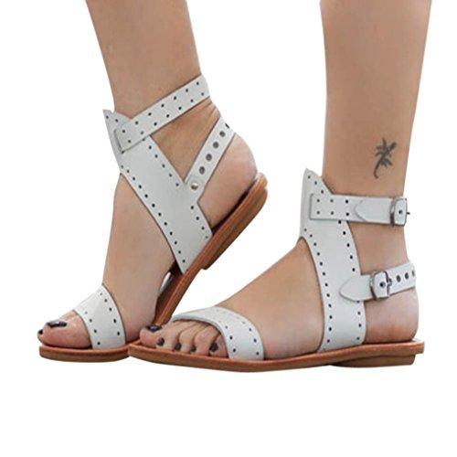 AIMTOPPY HOT Sale, Summer Women's Flat Cut Out Toe Buckle Sandals Roman Shoes Sandals (US:7.5, White)