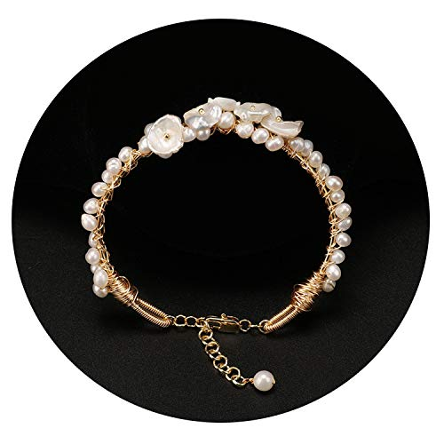 QIUHUAXIANG Natural Fresh Water Baroque Pearl Women's Bracelets Shell Flower Hand Winding Adjustable Wedding Bangle