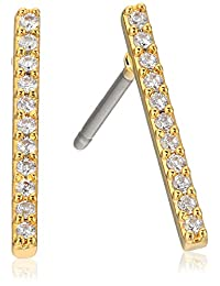 Jules Smith Micro Pave Bar Gold Stud Earrings