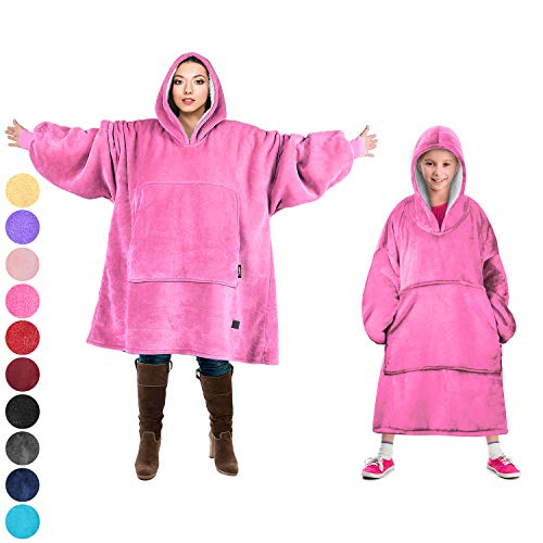 Tirrinia Blanket Sweatshirt, Super Soft Warm Comfortable Sherpa Hoodie with Giant Pocket, for Adults and College Students, Outdoor, Indoor,Reversible, Hood, Oversized, Hot - Sweatshirt Pink Blanket