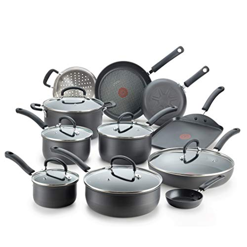 (T-fal E765SH Ultimate Hard Anodized Nonstick 17 Piece Cookware Set, Black)