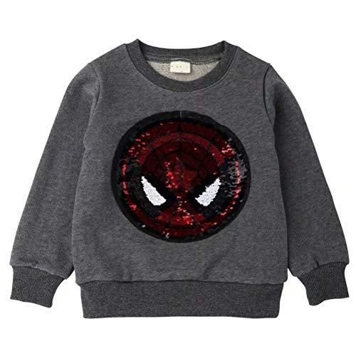 (Girl Boy Children Fashion Sequin Hoodie Sweatshirt Cotton Pullover Tops 120/60 (4-5YRS))