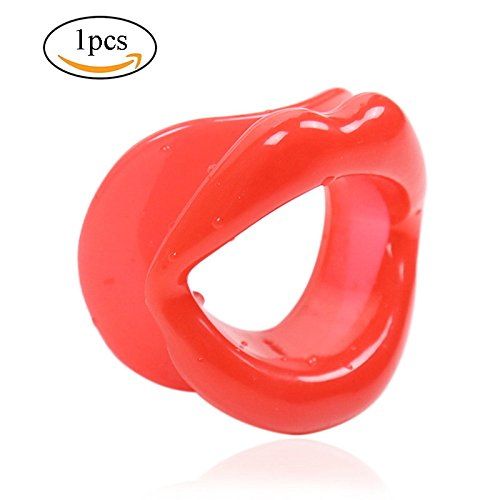 Face-lift Slimmer,Povkeever Silicone Rubber Face Slimmer Mouth Muscle Tightener Lips Trainer (Red) -