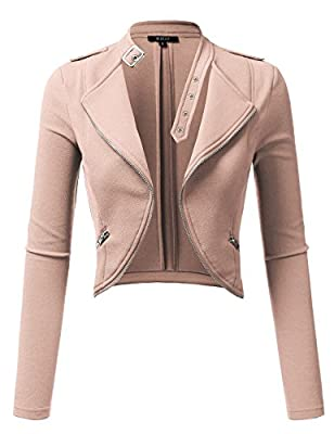 DRESSIS Womens Slim Fit Open Front Cropped Jacket