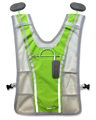 Roadnoise Long Haul Vest Running and Cycling Vest with speakers. Safer running and riding with music. (Hi Vis Green, X-Small/Small) by Roadnoise (Image #2)
