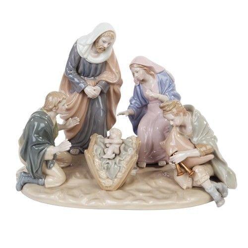 Fine Porcelain Nativity Figurine Scene Mary Joseph Baby Jesus And Angels