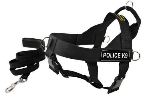 Dean and Tyler Bundle One DT Universal Harness, Police K9, Medium (26'' - 32'') with One Matching Padded Puppy Leash, 6-Feet Stainless Snap, Black by Dean & Tyler