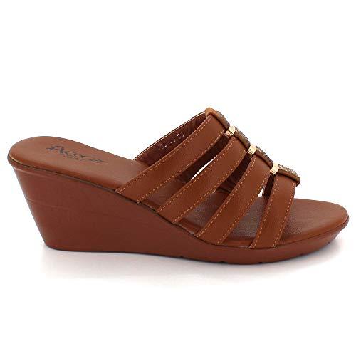 Femmes Dames Moyen Été Chaussures Glisser Sandales Léger Bout Poids Confort Taille Talon Décontractée Marron Ouvert Des Sur Compensé wYYrqf5xdZ