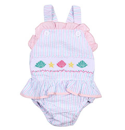 Babeeni Girls One Piece Bathing Suit, Seersucker Ruffles Strap Swimwear With Seashell Smocked Piece On Chest - Seashell Is A What Made Of