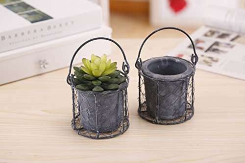 Marbled Gray Clay Succulent Planter Pots with Chicken Wire Metal Basket and Handle, Set of 2