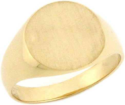 10k Solid Gold Round Signet Young Mens Boys Ring