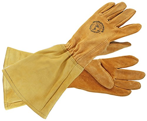 Womanswork Rose Gauntlet Leather Garden Gloves – Made in the USA Size Small (Usa Leather Small)