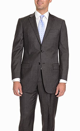 Charcoal Super 150's Wool Suit (Modern Fit Charcoal Gray Pindot Two Button Super 150's Wool Suit With Flat Front Pants 40R 34W)