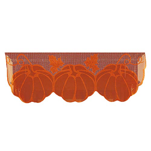 LiPing 60 x 20 inch Pumpkin Lace Fireplace Cloth Pumpkin Maple Leaf Spiderweb Mantle Lace Runner Fireplace Scarf Festive Supplies for Halloween Christmas Party Door Window Decoration (A)