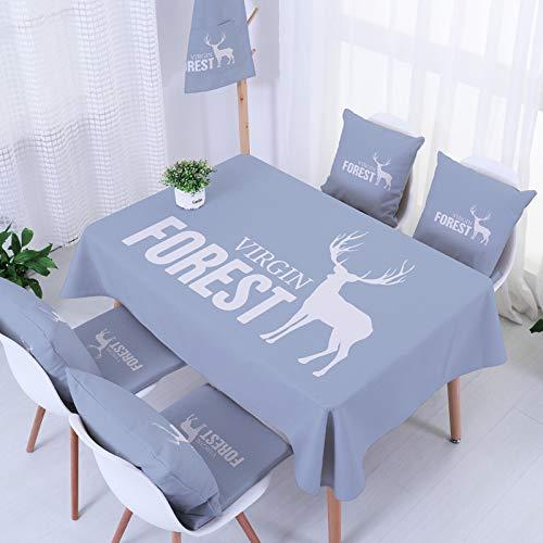 Xsongue Nappe Rectangulaire Anti Tache Tissu avec Tassel Nappe Table Lavable Coton Lin pour Décoration Table Cuisine Restaurant Cerf Tranquille épaissi 140  250cm
